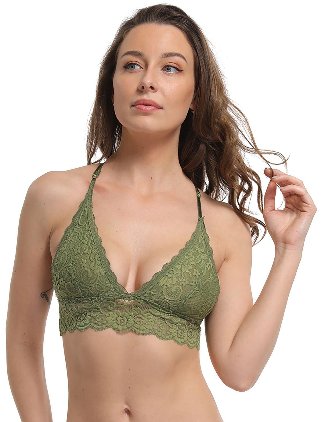 5bb7b68d454 FRDMBeauty Sexy Unlined Lace Sheer Bralette Triangle Bikini Top Wireless Bra  Cute Lingerie for Women