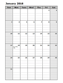 Monthly Calendar Portrait   Organized Home