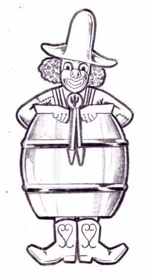 Rodeo Clown Drawing | Printable Rodeo Clown Drawing | Rodeo Clown ...