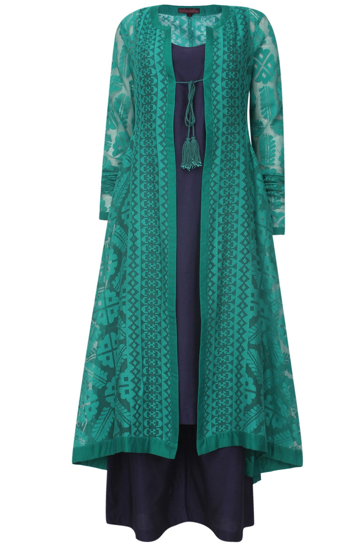 Teal Jaquard Front Open Jacket Kurta Navy Slip And Pants