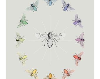 Digital Print - Bee Color Wheel Print - Color Theory Art - Teacher Gift Idea - Educational Art - Honey Bee Art - Childrens Gift Idea