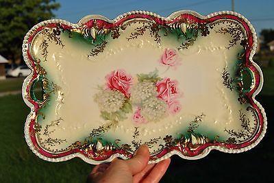 "Antique RS Prussia Flame Jewel  Dresser Tray Pink Roses HydrangeasGold 12"" https://t.co/GnMfesjaCZ https://t.co/Jdcsh6GFeL"