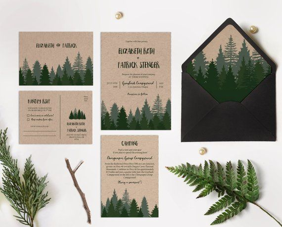 Items similar to Winter wedding invitation printable, Pine forest wedding invitation printable, Woodsy Pine invitation, Pine tree Kraft paper wedding invite on Etsy