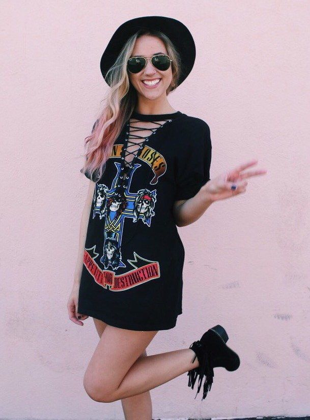 A personal favorite from my Etsy shop https://www.etsy.com/listing/289832231/lace-up-guns-n-roses-band-t-shirt-dress