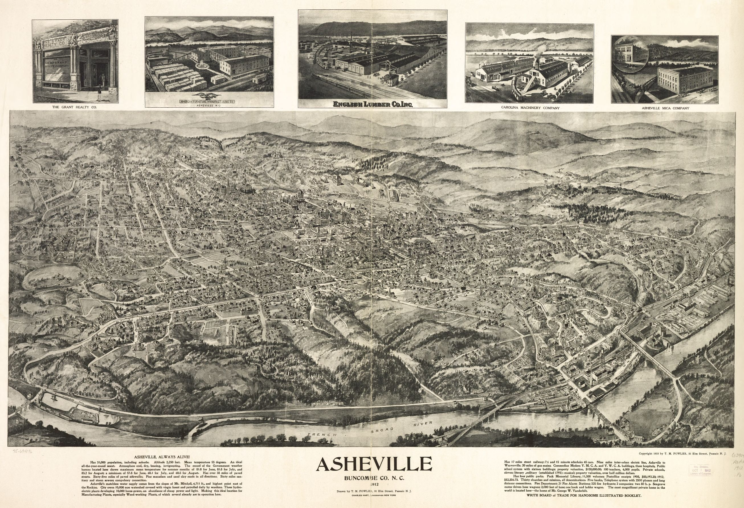 Hand drawn Birds eye map of Asheville 1912 View