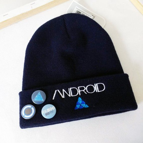 49121221c7a2b Detroit Become Human: Android Beanie hat, Connor, Kara, Markus, DBH.  Perfect Gift!