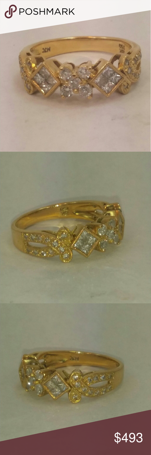 18k solid gold diamond ring 18k solid gold, stamped 750 18k Genuine diamonds 0.83ct total weight 4.3 grams Size 6.75 Jewelry Rings