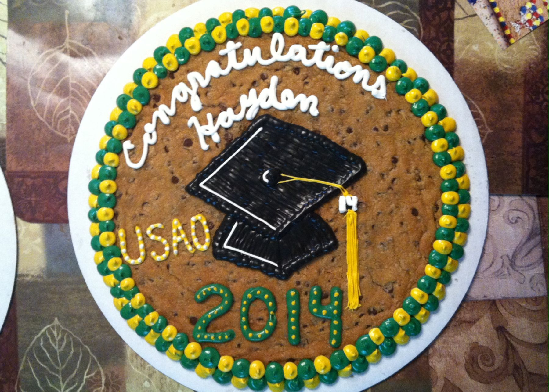 College graduation cookie cake for my nephew graduation