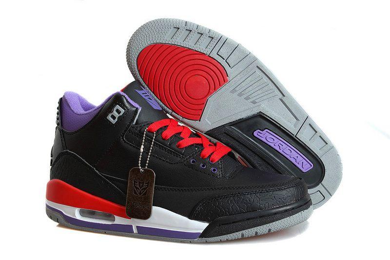 dfa9737a5383 Air Jordan 3 Transformers Black Purple Red