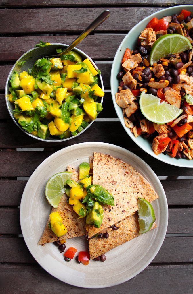 Spicy Chicken Quesadillas With Avocado-Mango Salsa