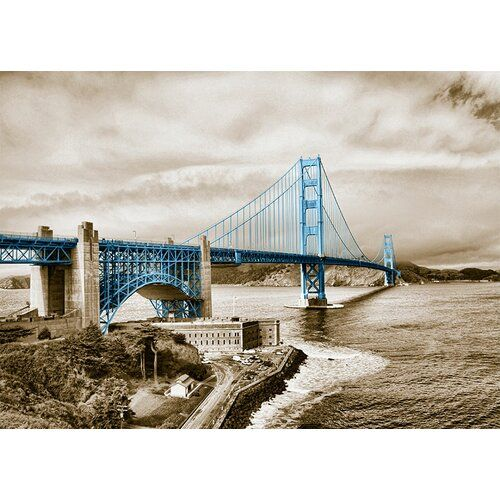 East Urban Home Around The World San Francisco Bridge Photo Print in Baby Blue