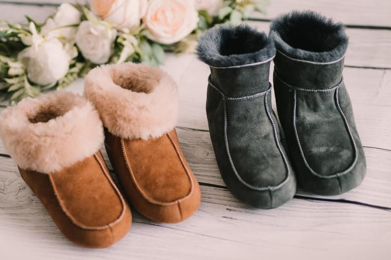 Photo of Comfortable Womens Slippers Shearling Wool Natural Leather Sheepskin Gift for Her Mom UGG EMU Style Moccasin Slippers Leather Sole
