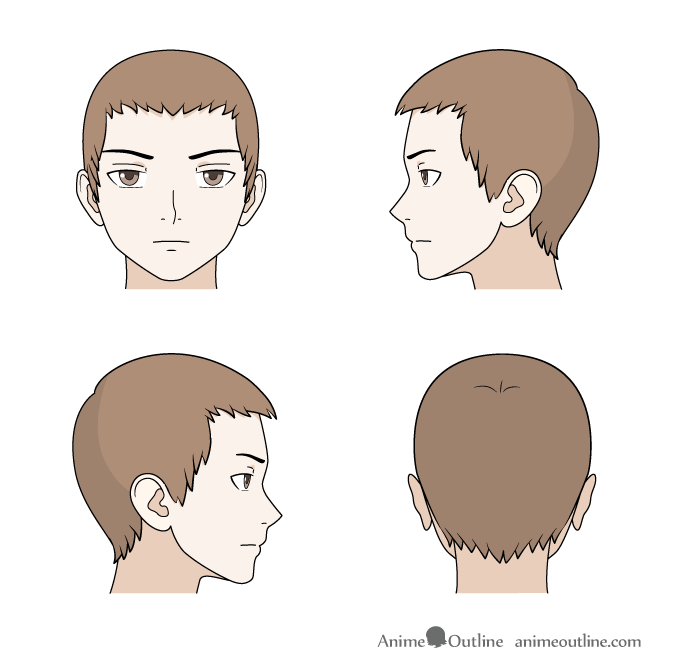 drawing short anime hair front