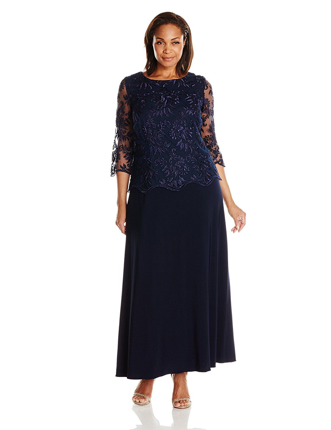 06fb008948 Alex Evenings Women s Plus-Size Long A-Line Mock Dress with Illusion  Sleeves  gt