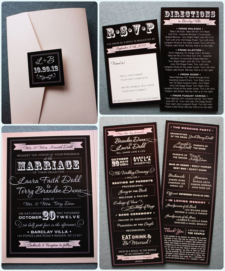 Blush Pink Black Vintage Steampunk Poster Style Pocketfold Wedding Invitations Programs