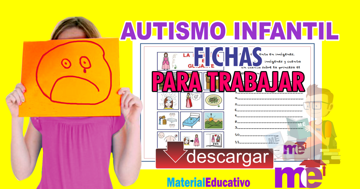 Material Educativo Fichas Para Trabajar En El Aula Con Niños Autistas Activities Education Therapy