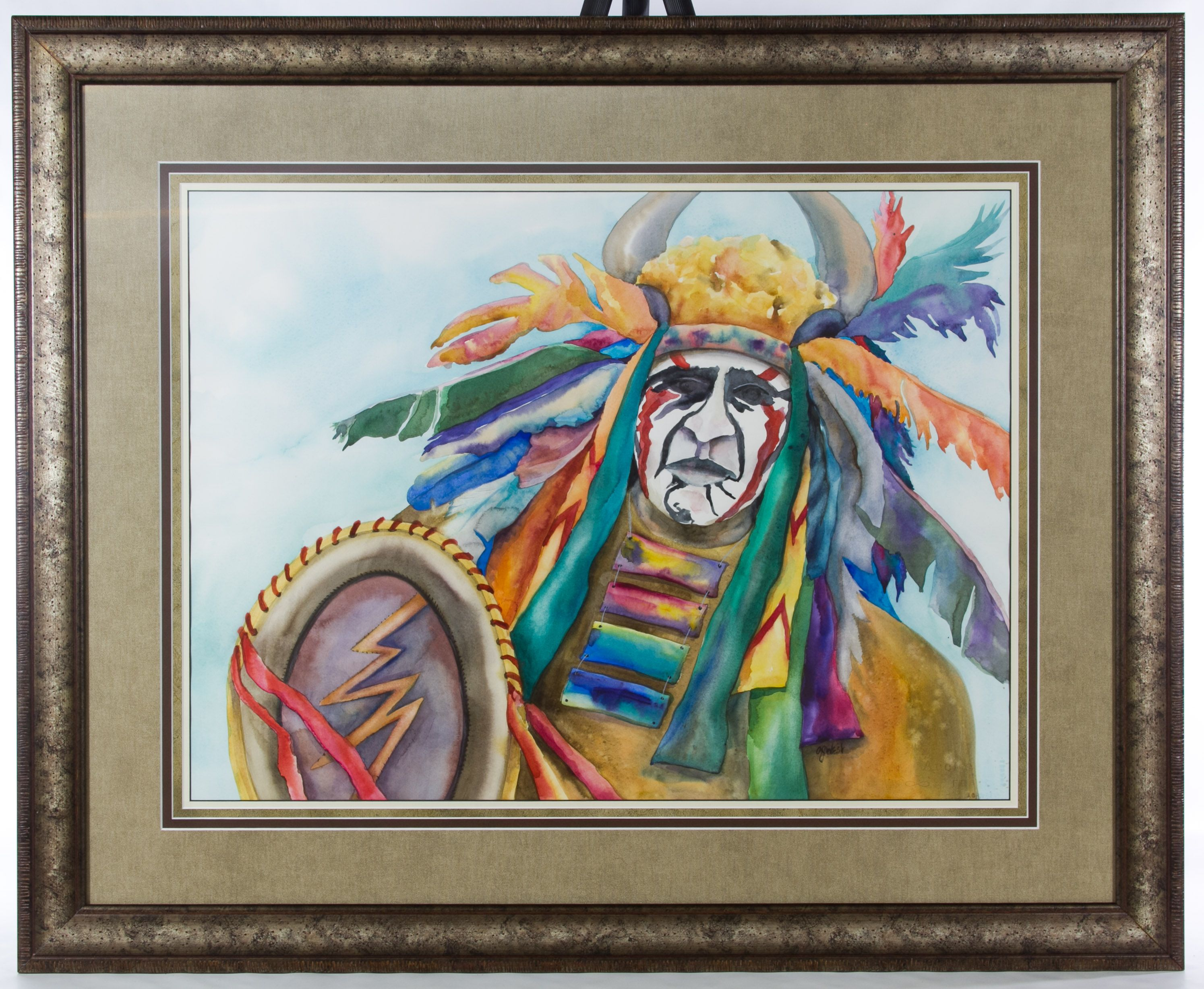 """Lot 286: A. J. West (20th Century) Watercolor; Undated, signed lower right, depicting a Native American man, embossed """"Aquarelle Arches"""" mark lower right"""