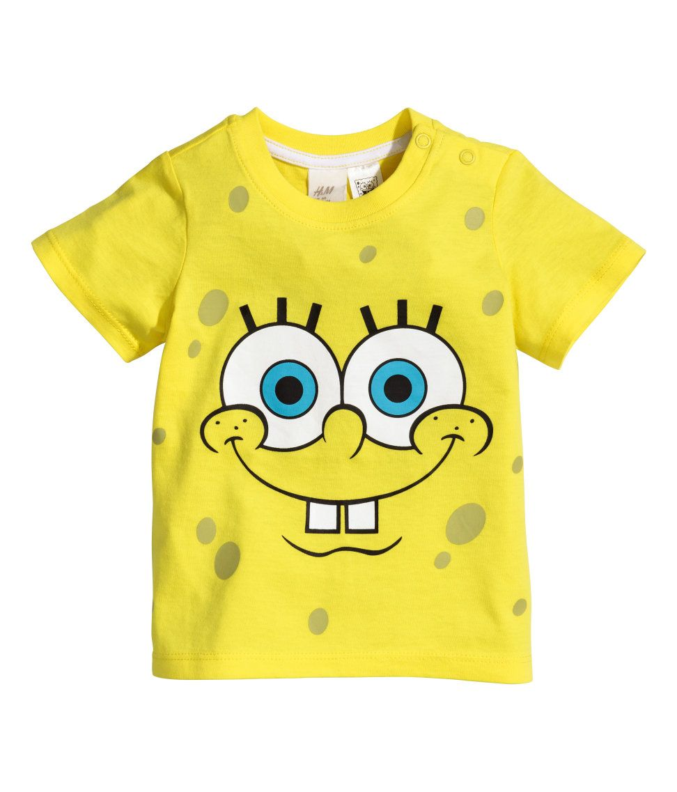 H M T Shirt With A Print 4 99 Spongebob Birthday Party Birthday Shirts Kids Fashion Boy