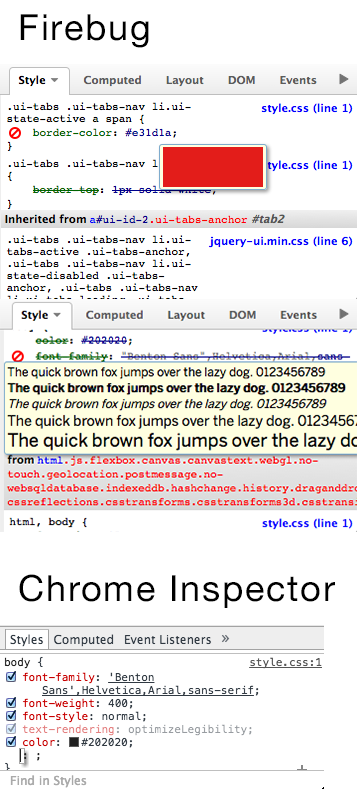 Firebug gives preview for font or color, and Chrome Inspector doesn