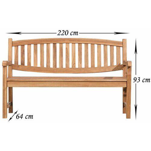 Ramsgate Teak Bench Sol 72 Outdoor Size: 93cm H x 220cm W x 64cm D