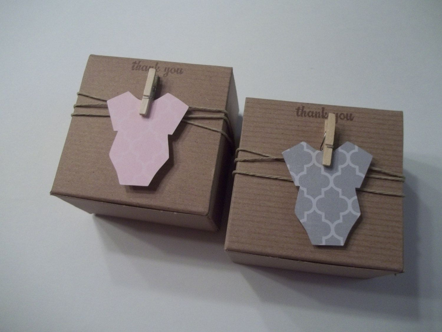 Baby Shower Thank You Gift Boxes : These adorable and eco friendly kraft paper favor boxes