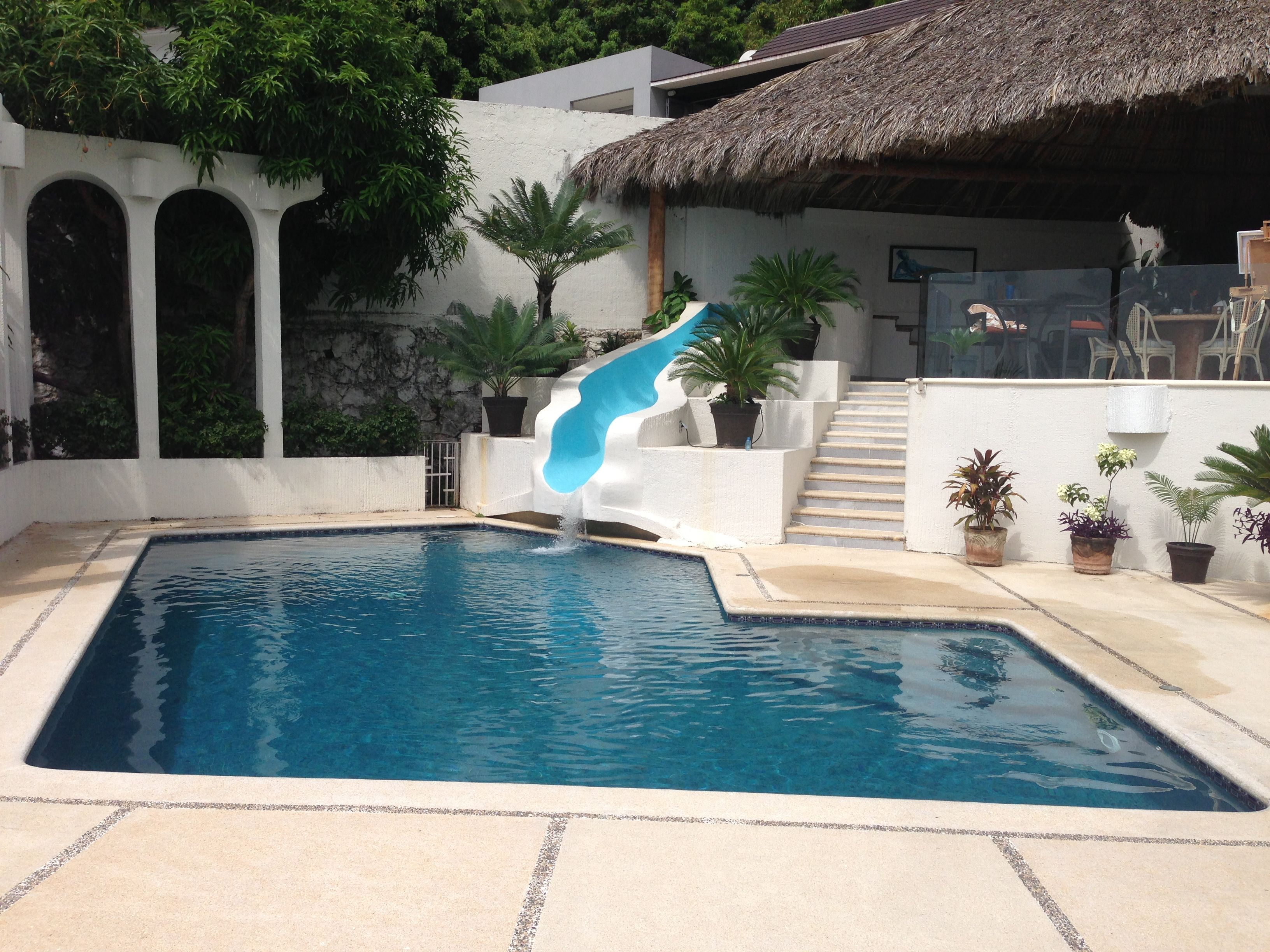 Acapulco Alberca Con Tobogan Swimming Pool Pinterest  ~ Piscinas Para Patios Pequeños Ideas