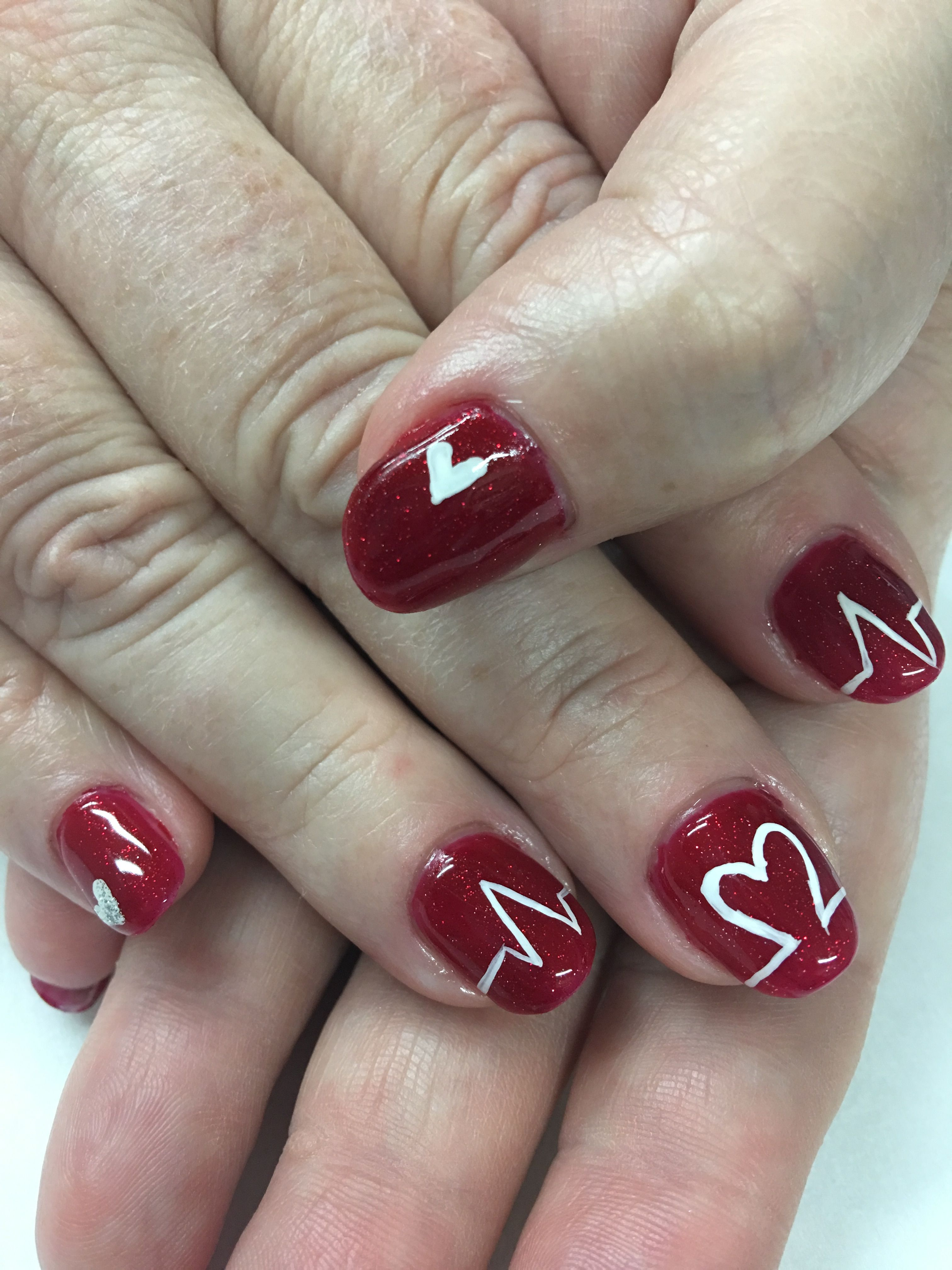 Glitter Red hand painted Heartbeat Valentine Gel Nails | Gel Nail ...