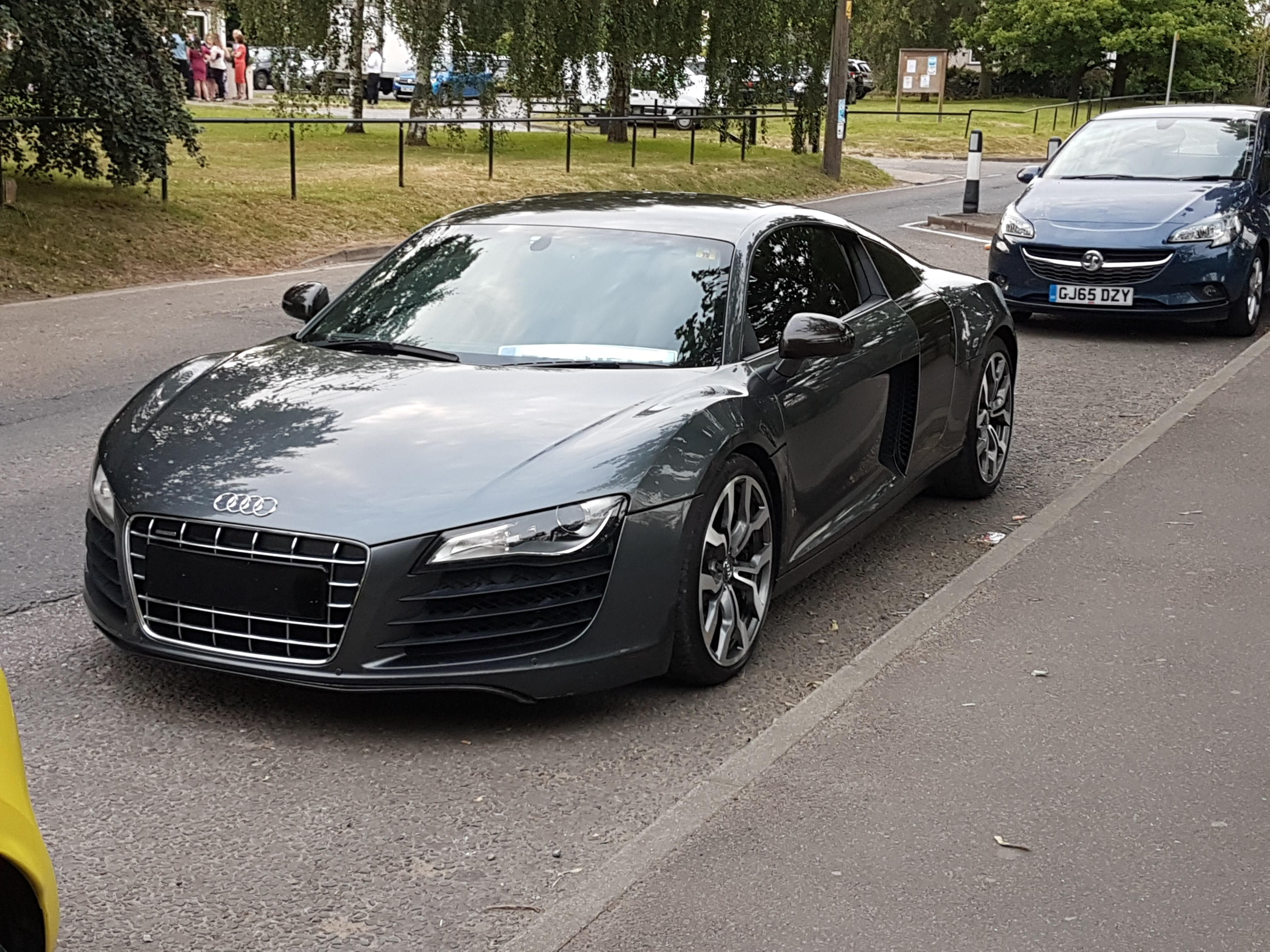 Audi R8 Spotted Today In The Uk Nice Space Grey With Black Accents Classic Cars Lamborghini Audi