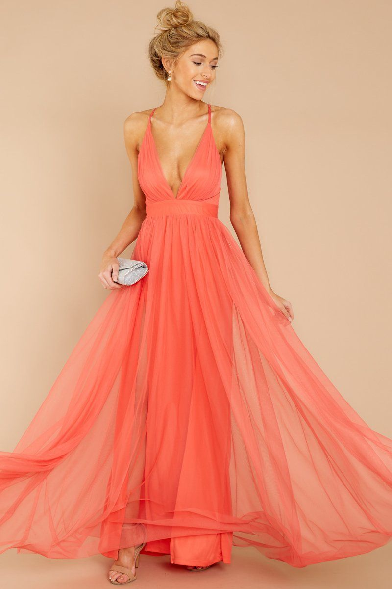 8d69873c35a8 Glamorous Dark Coral Maxi Dress - Coral Pink Tulle Gown - Dress - $66 – Red