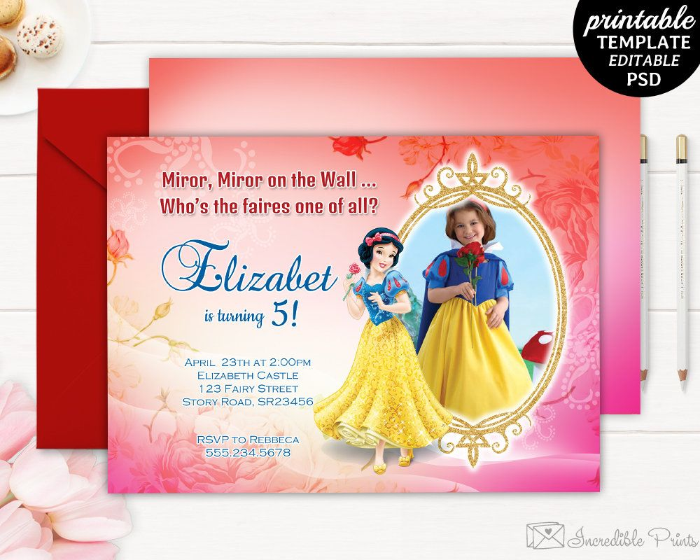 Snow White Girl Birthday Invitation Template Party Invite 5th