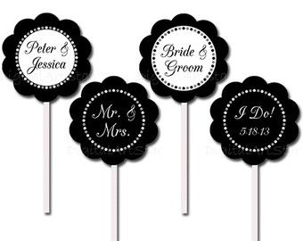 Black And White Personalized Bridal Cupcake Toppers