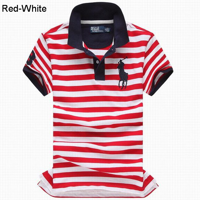 Ralph Lauren Men Custom Fit Big Pony Striped Polo Red White