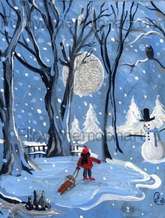 Blue Night Christmas Holiday Sledding Snowman Quality Art Print