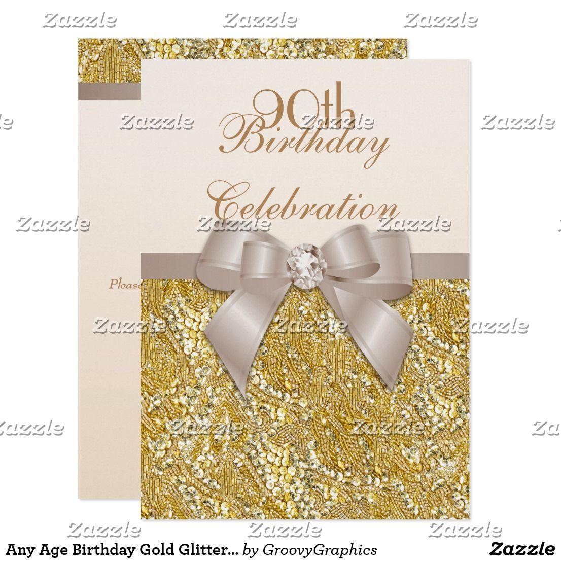 Any age birthday gold glitter diamond bow invitation