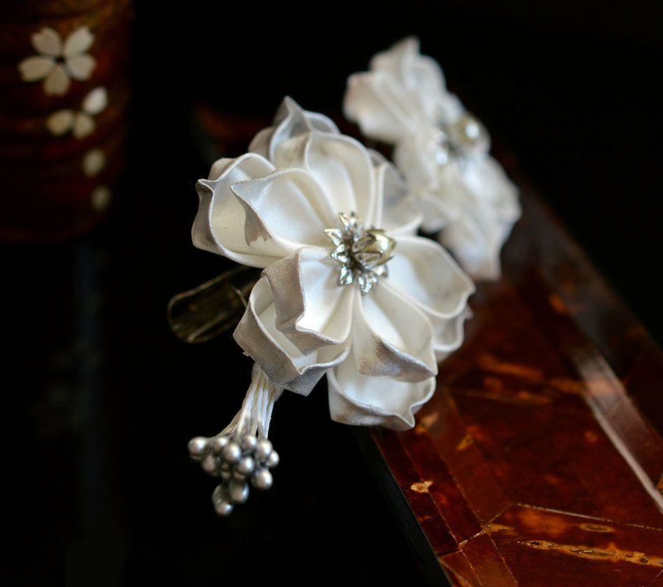 Wedding White Lotus Clip. Tsumami Kanzashi. by hanatsukuri on DeviantArt
