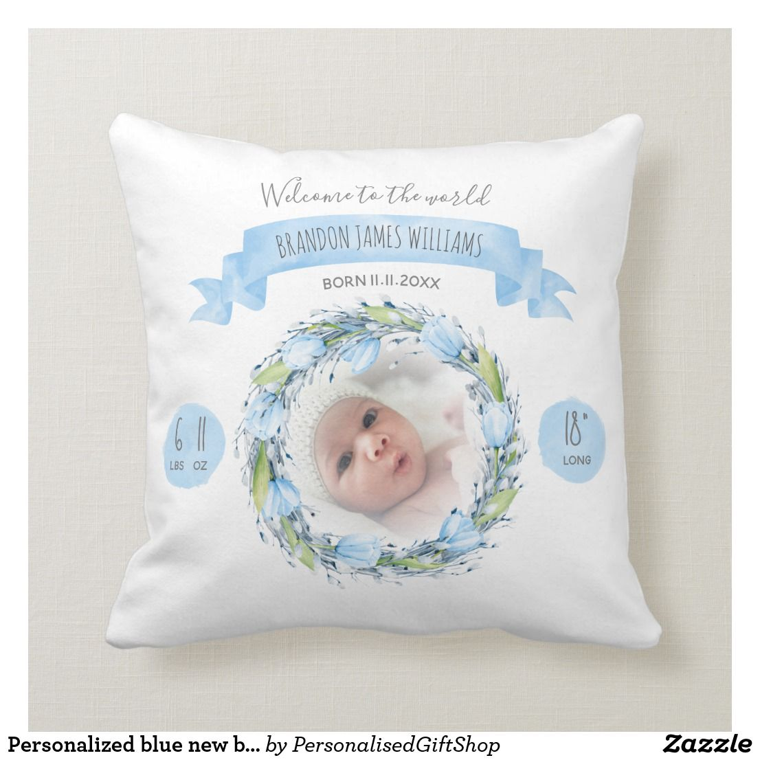 Personalized blue new baby throw pillow