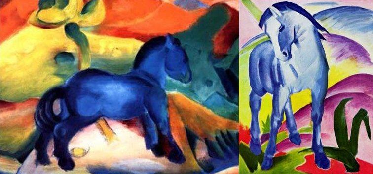 """A sinistra l'opera di Vasilij Kandinsky il """"Cavallo azzurro"""" e a destra il """"Cavallo blu I"""" di Franz Marc"""