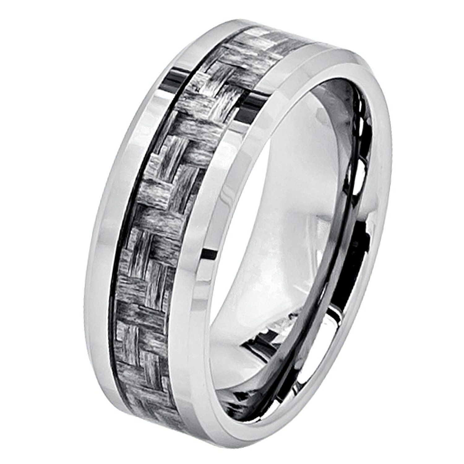 8mm Tungsten Carbide Beveled Edge Charcoal Gray Carbon