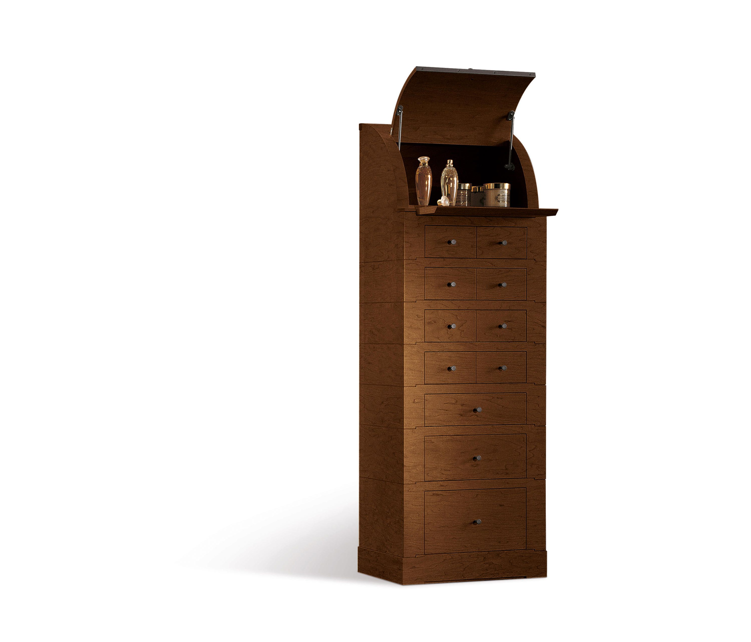 Tall chest of drawers with the plywood frame in walnut canaletto wood veneer. It is equipped with eleven drawers, an upper compartment with flap door and..