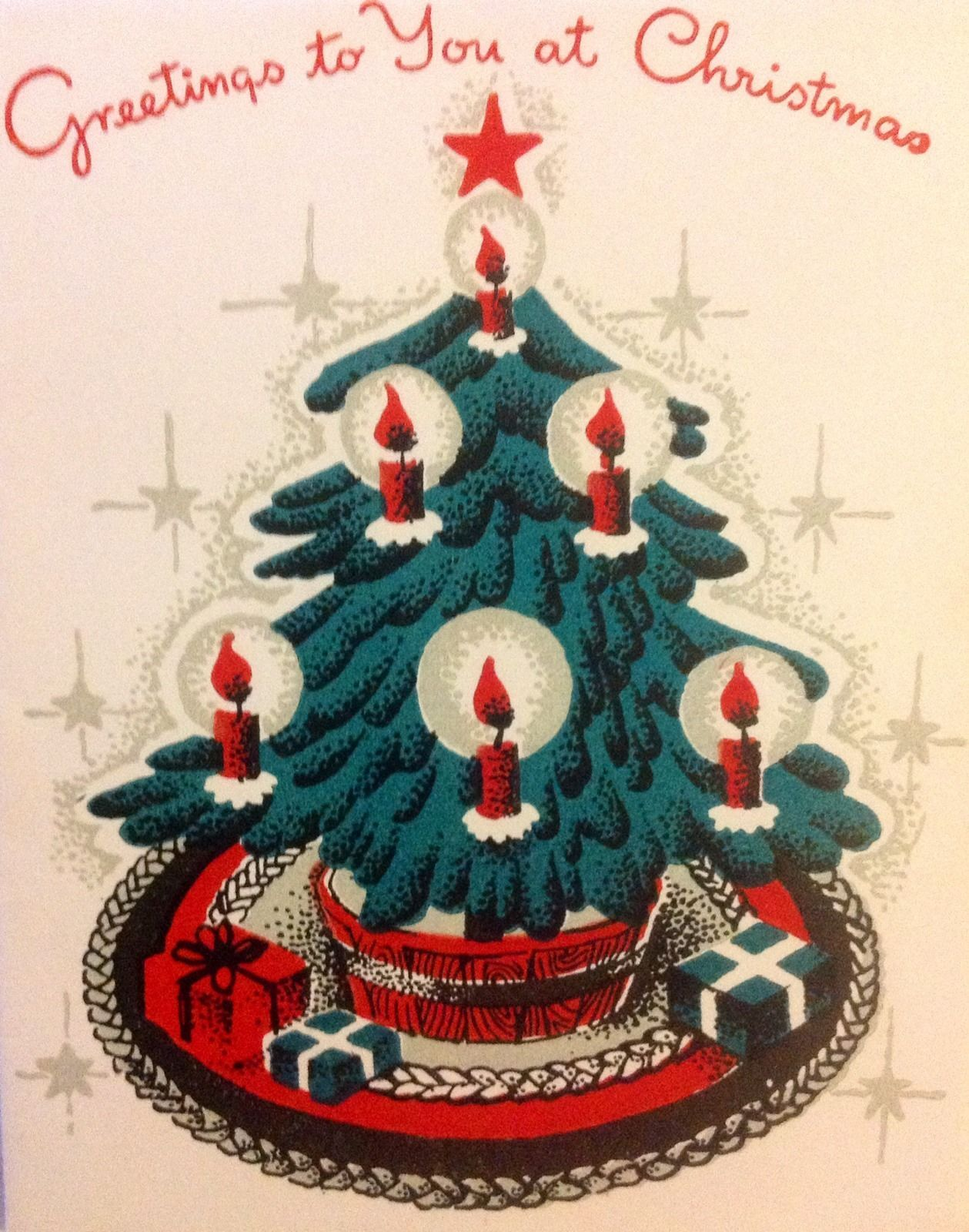 Vintage 1940s xmas greeting card with christmas tree red candles vintage 1940s xmas greeting card with christmas tree red candles presents ebay kristyandbryce Image collections