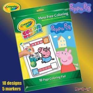 Crayola Peppa Pig Color Wonder Magic Mess Free Colouring Book Set Inc Pens