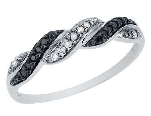 White And Black Diamond Ring 1 10 Carat Ctw In 10k White Gold Listing Price 425 00 Now 199 00 Black Diamond Black Diamond Ring Fashion Rings