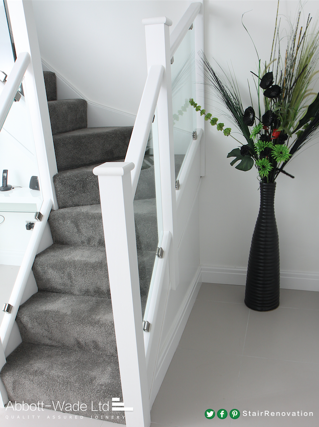 Dazzling White Staircase With Clamped Glass Staircase Design   White Stairs With Grey Carpet   Top   Laminate Flooring Carpet   White Staircase   Grey Stripe   Dark Grey