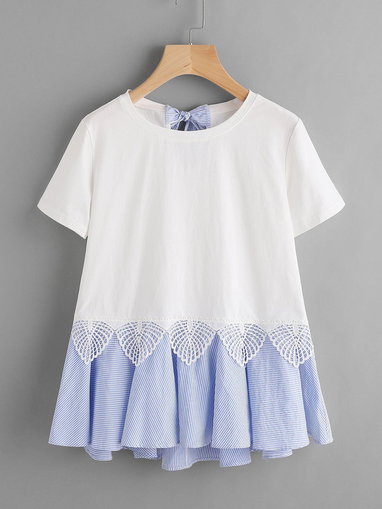 Tee-shirt à rayures avec des plis et nœud papillon -French SheIn(Sheinside) 96441c74293
