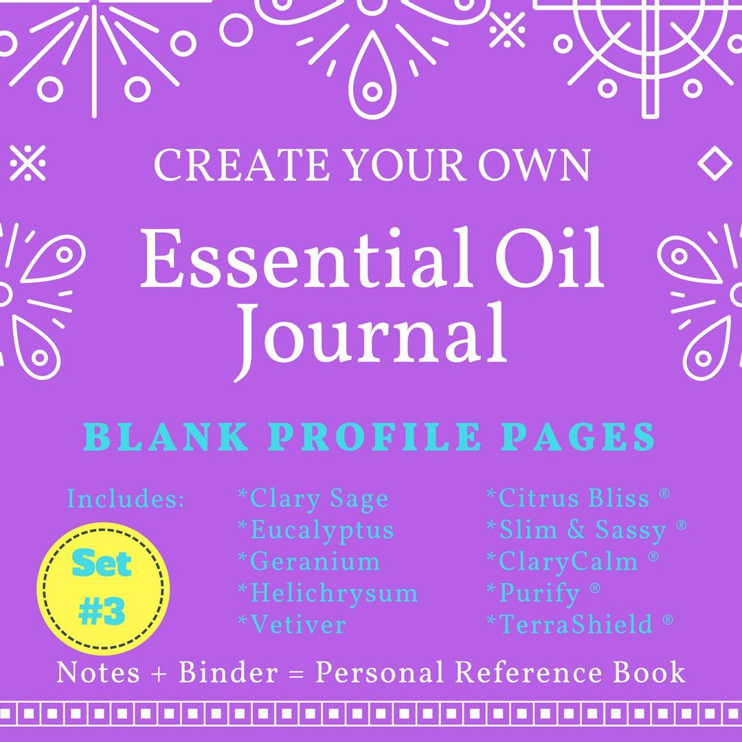Set 3 Doterra Blank Top Essential Oil Book Planner Pages