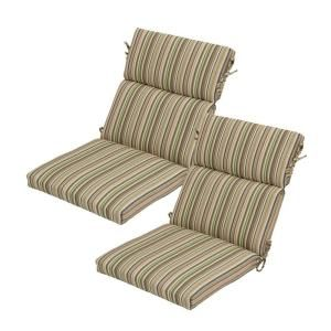 Hampton Bay Green Stripe Rapid Dry Deluxe Outdoor Dining Chair Cushion 2 Pack 7719 02003100 The Home Depot