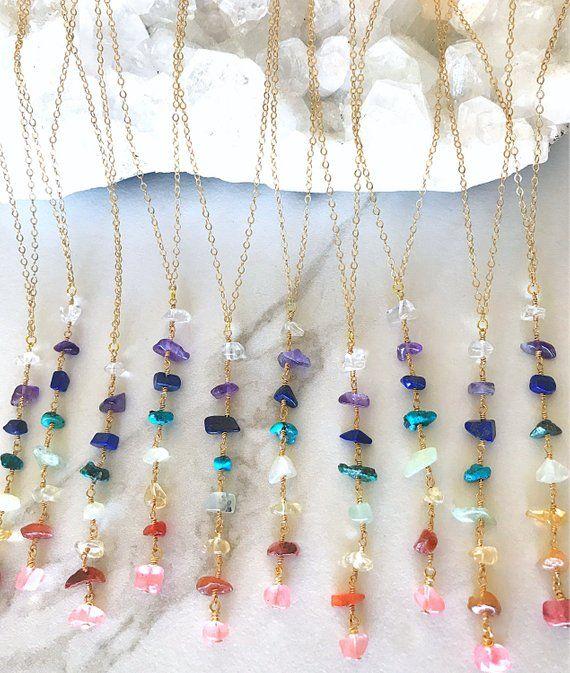 Photo of 7 Chakra Necklace, Gemstone Necklace, Crystal Necklace, Statement Necklace, Rainbow Necklace, Yoga Gemstone Necklace, Chakra Stone Jewelry