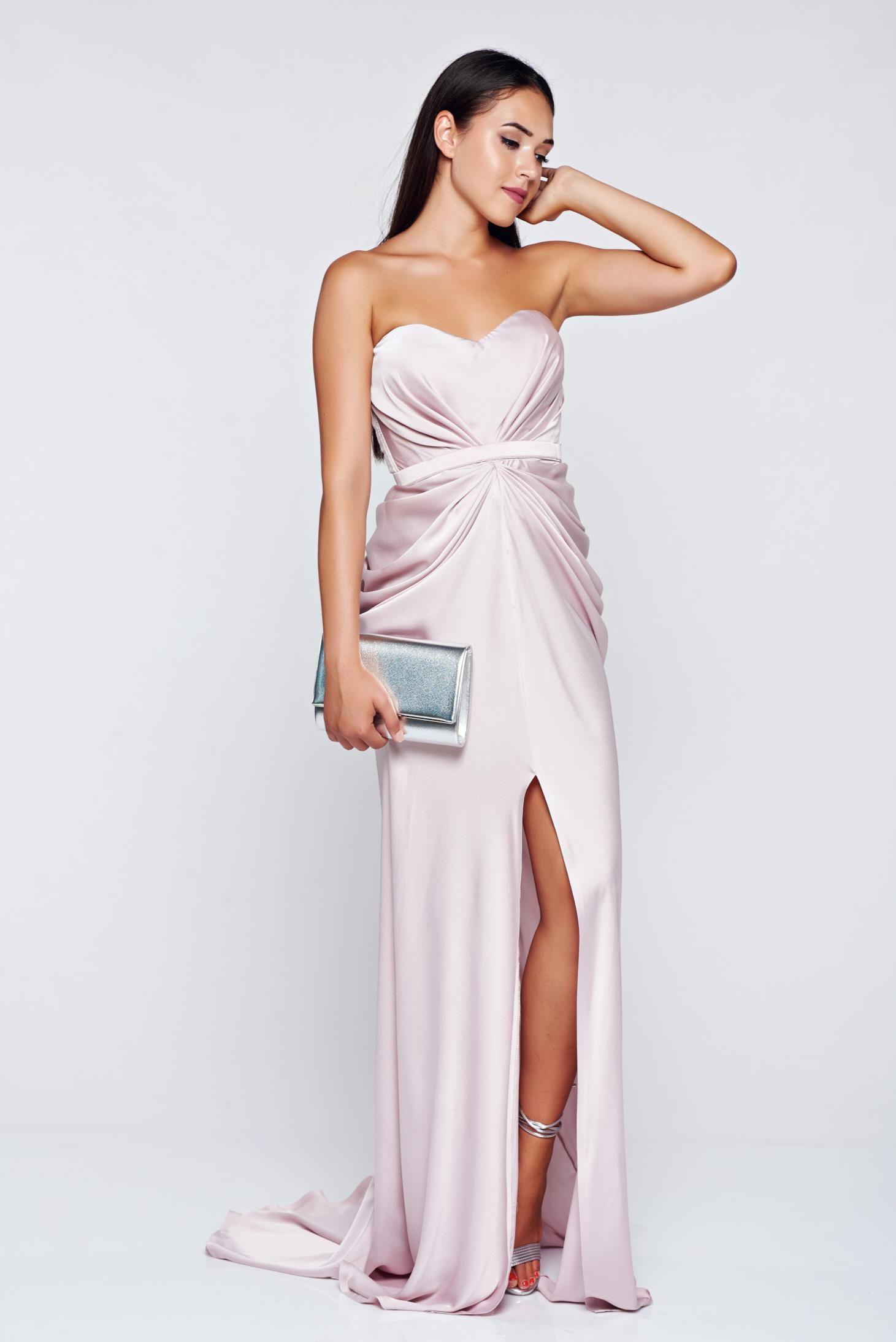 Ana radu luxurious off shoulder dress from satin fabric