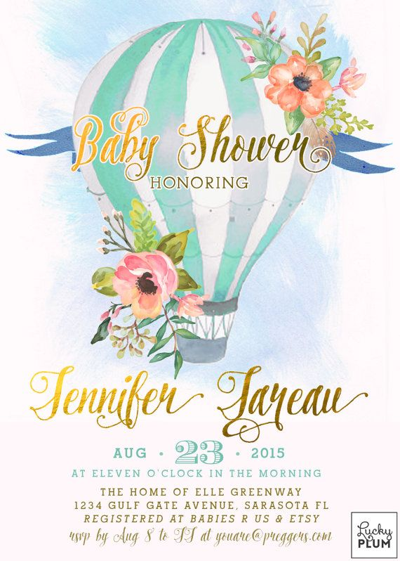 Hot Air Balloon Baby Shower Invitation Pink S Coed Up Away