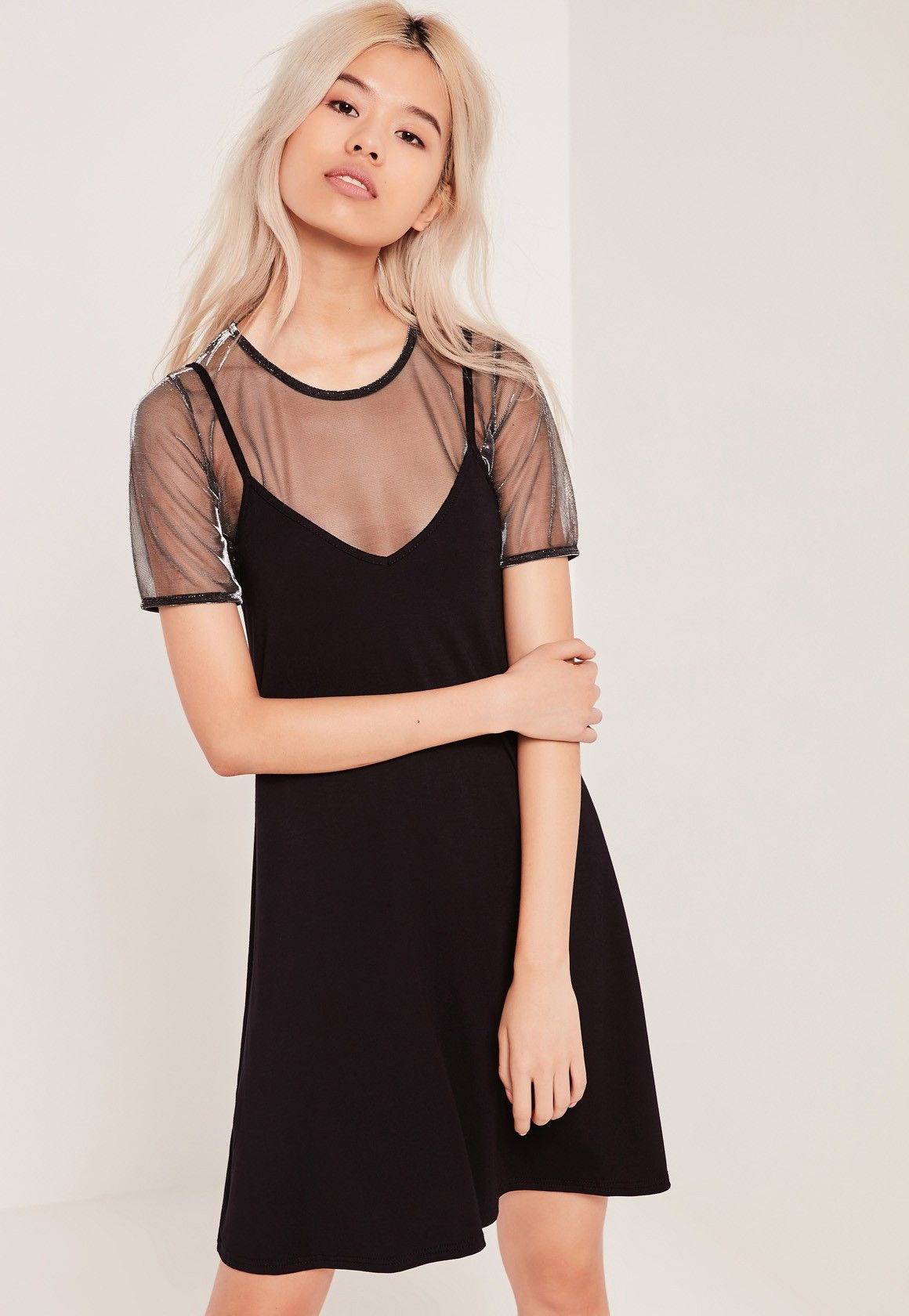 Missguided 2 In 1 Strappy Mesh Dresses Metallic Dresses Mesh Dress Womens Dresses [ 1680 x 1160 Pixel ]